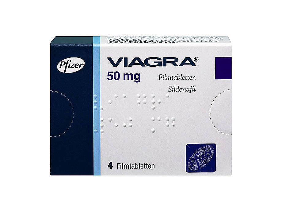 Vorderseite einer Packung Viagra 50 mg mit 4 Filmtabletten von Pfizer.